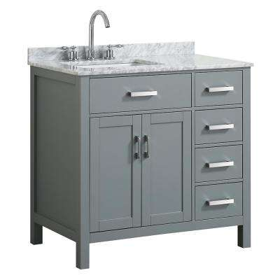 Hampton 37 in. W x 22 in. D Bath Vanity in Grey with Marble Vanity Top in White with White Basin