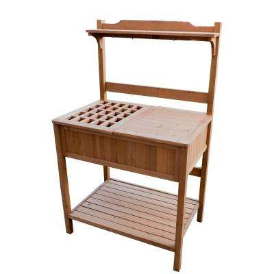 Natural Wood Recessed Potting Bench