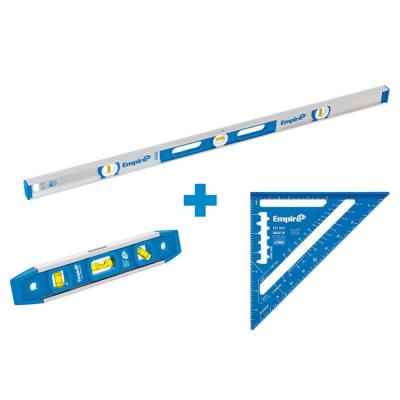 48 in. Aluminum Magnetic I-Beam Level with Aluminum Rafter Square and Torpedo Level