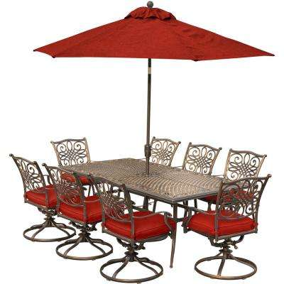 Traditions 9-Piece Aluminum Outdoor Dining Set with Red Cushions and 8 Swivel Rockers