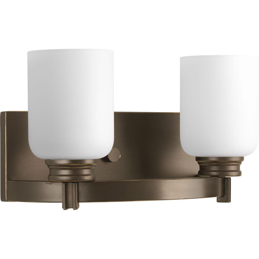 Orbit Collection 2-Light Antique Bronze Bathroom Vanity Light with Glass Shades