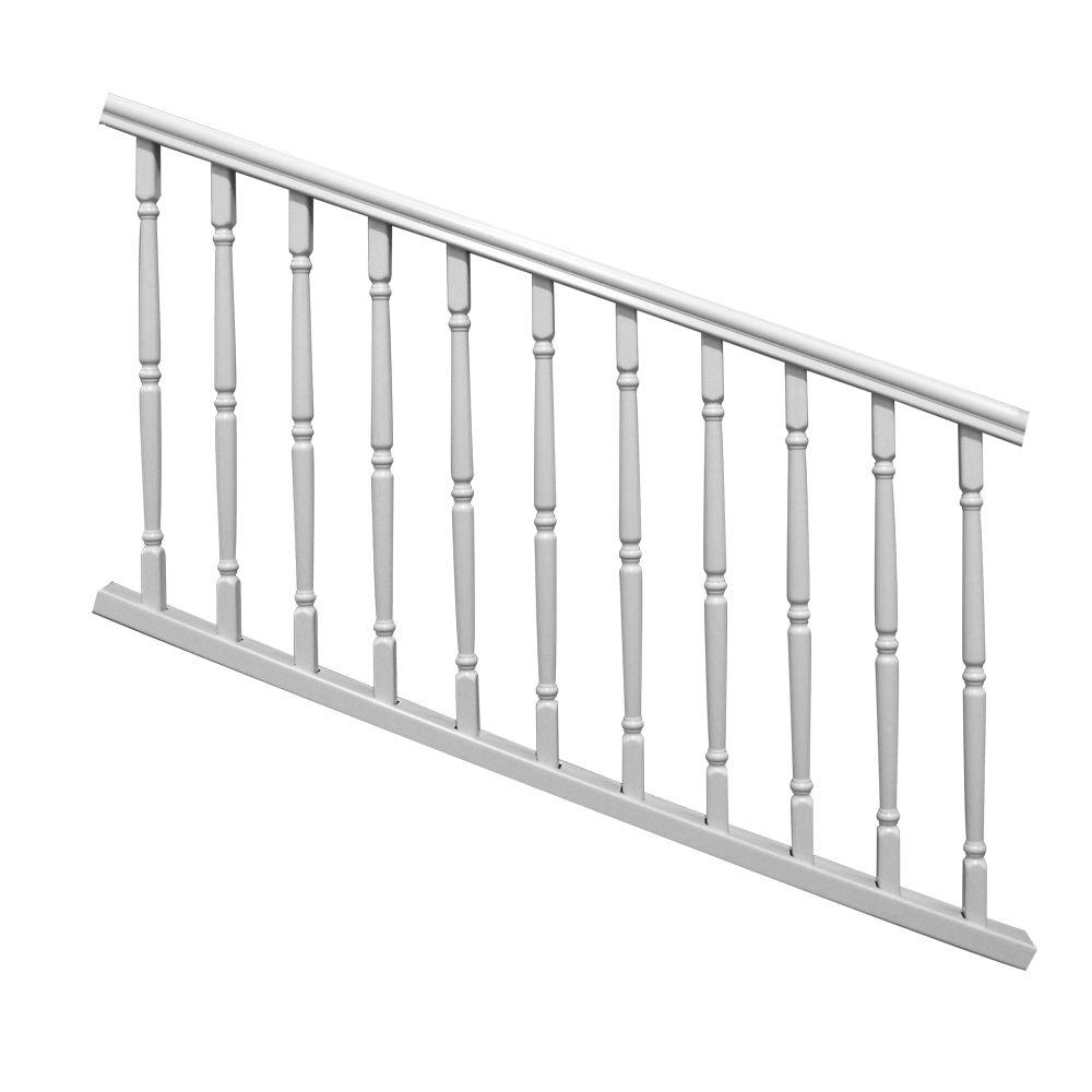 Veranda williamsburg 6 ft x 36 in white stair rail kit 73003987 the home depot - Vinyl railing reviews ...