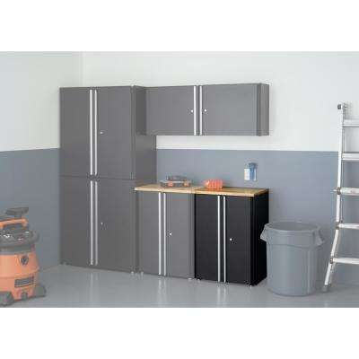 33.9 in. H x 24 in. W x 19 in. D Steel Cabinet in Black with Wood Top