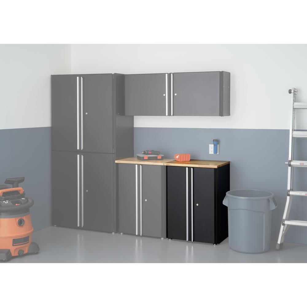 33.9 in. H x 24 in. W x 19 in. D Steel Cabinet in Black with Wood Top