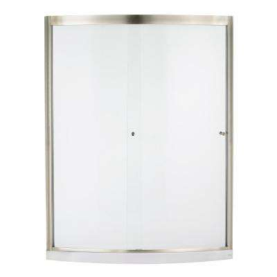 Ovation 60 in. x 72 in. Framed Sliding Shower Door in Satin Nickel and Clear Glass