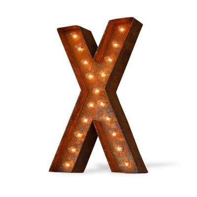 24 in. High Rusted Steel Alphabet Letter X Plug-In Marquee Lights