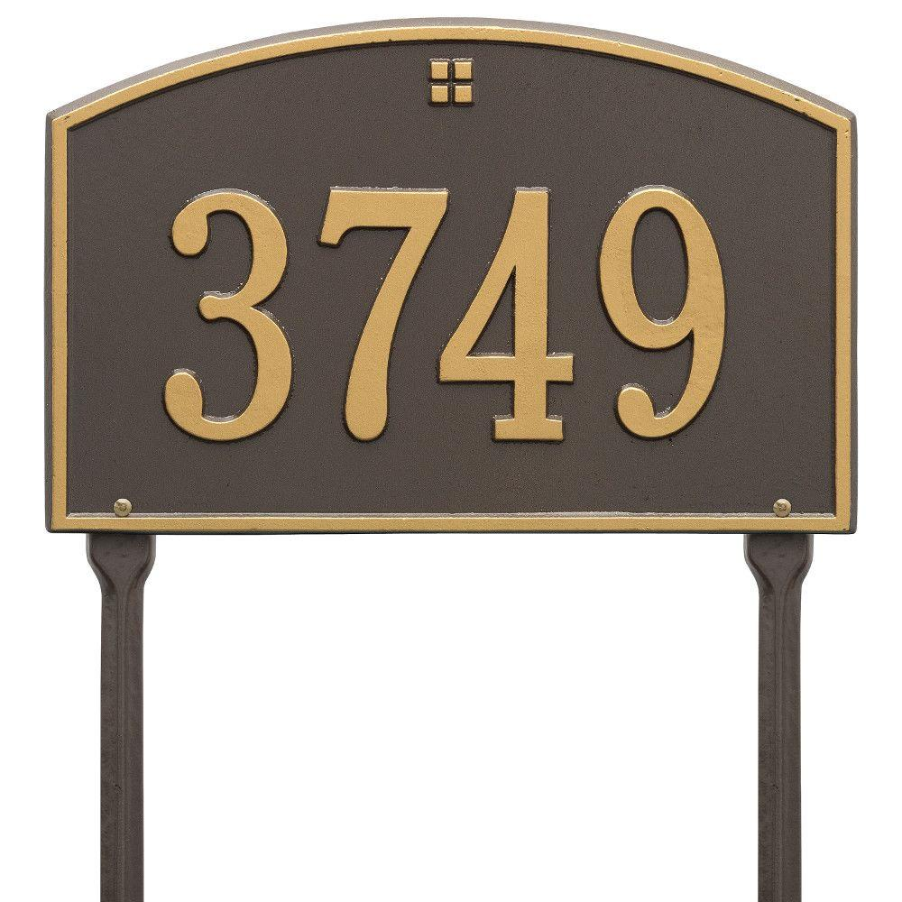 Whitehall Products Cape Charles Standard Rectangular Bronze/Gold Lawn 1-Line Address Plaque