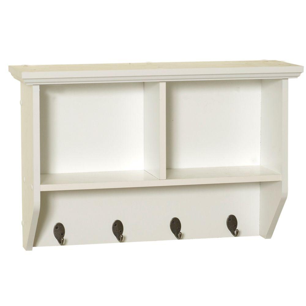 W Wall Cubby Shelf in White