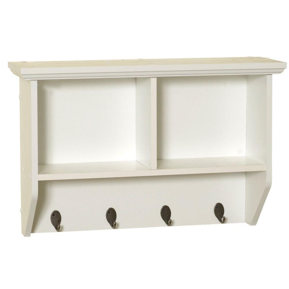 Collette 23 in. W Wall Cubby Shelf in White