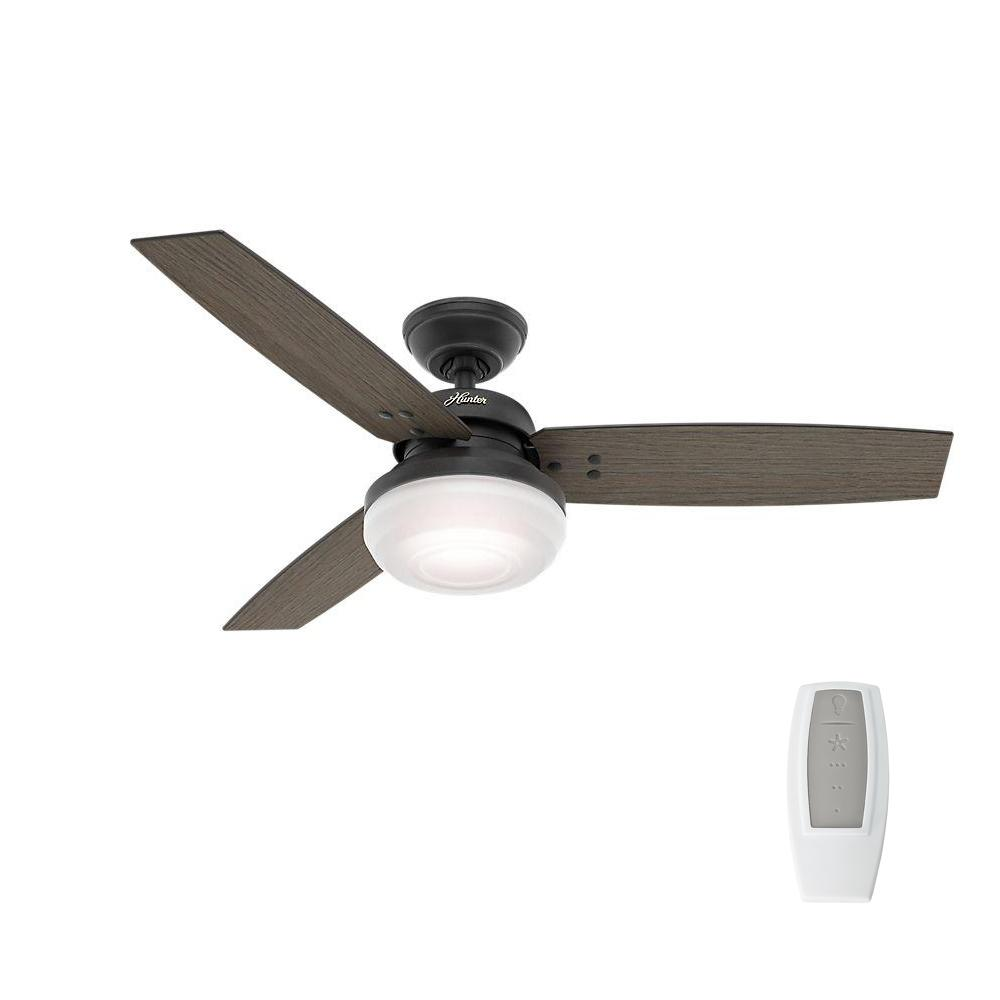Indoor Weathered Zinc Oak Ceiling Fan With Light And Universal Remote
