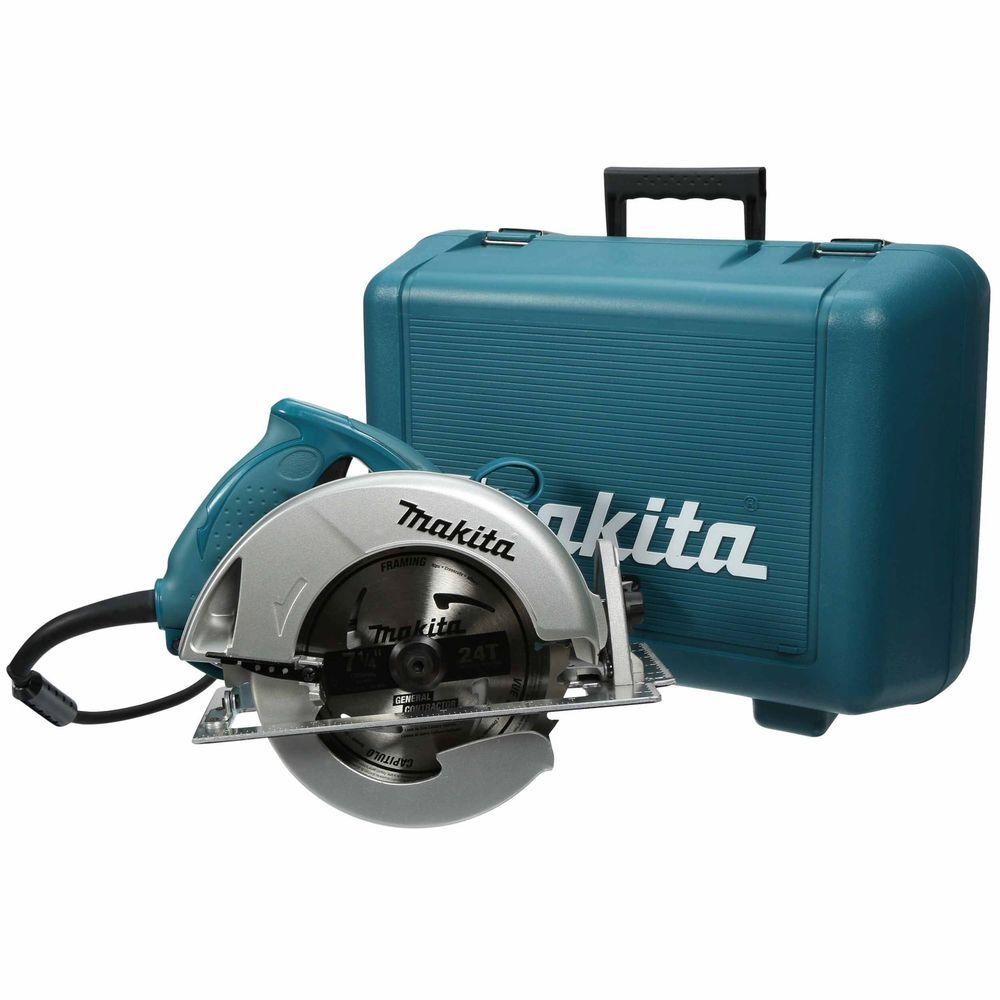 Makita 15 Amp 7-1/4 In. Corded Circular Saw with Large 56 degree Bevel Capacity, Dust Port, 24T blade and Hard Case