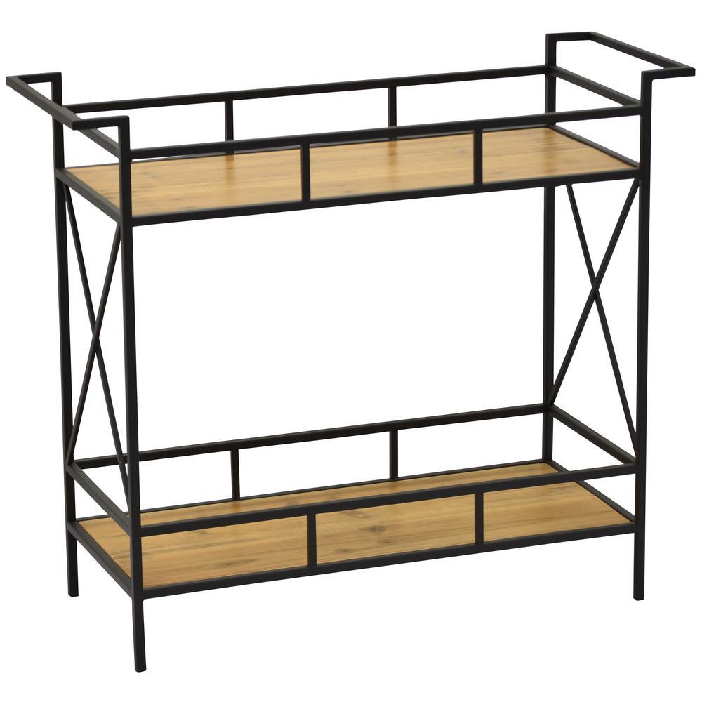 29.75 in. Black Metal Wood Storage Unit