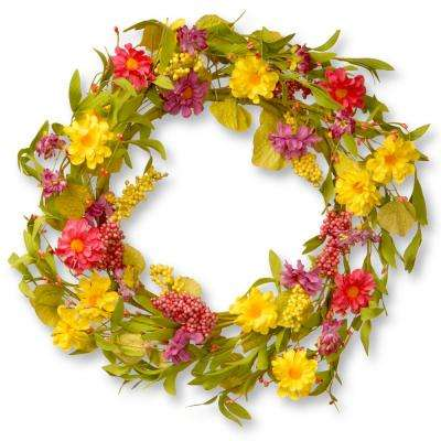 20 in. Multi Daisy Wreath