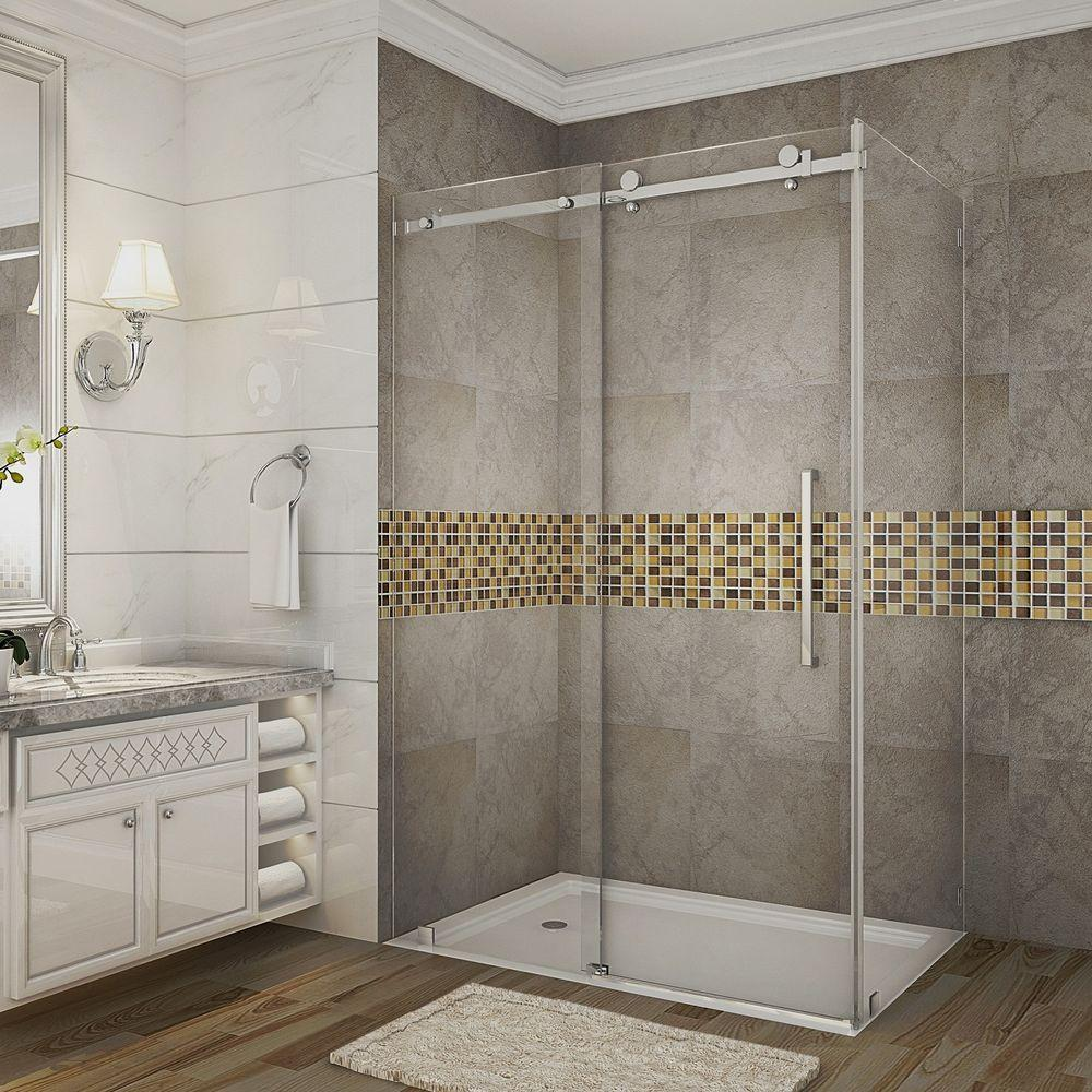 Small Bathroom With Frameless Shower: Schon Brooklyn 48 In. X 79 In. Semi-Framed Corner Shower