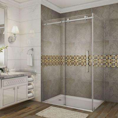 Moselle 48 in. x 33.4375 in. x 75 in. Completely Frameless Sliding Shower Enclosure in Stainless Steel with Clear Glass