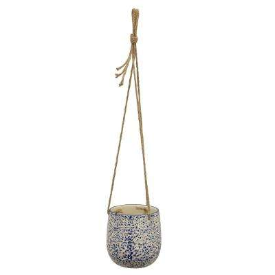 5 in. Ceramic Hanging Planter in Blue