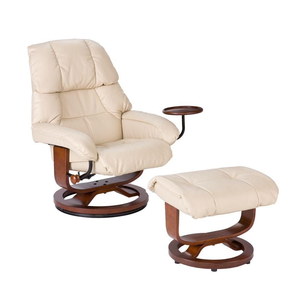 Southern Enterprises Taupe Leather Reclining Chair with Ottoman-UP7632RC - The Home Depot  sc 1 st  The Home Depot & Southern Enterprises Taupe Leather Reclining Chair with Ottoman ... islam-shia.org