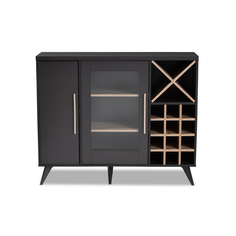 Pietro 24-Bottle Dark Gray and Oak Brown Wine Cabinet