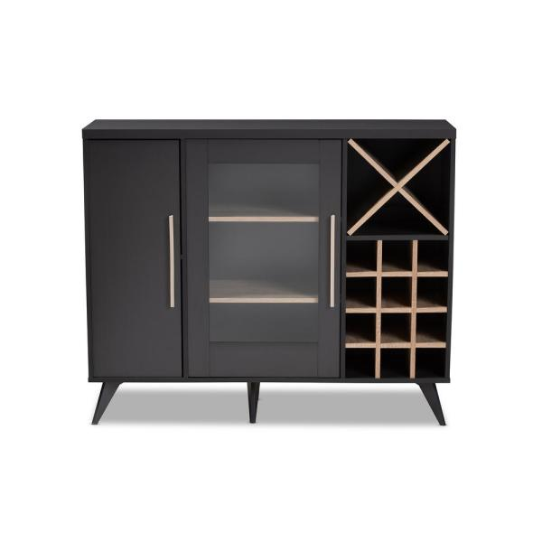 Baxton Studio Pietro 24 Bottle Dark Gray And Oak Brown Wine Cabinet