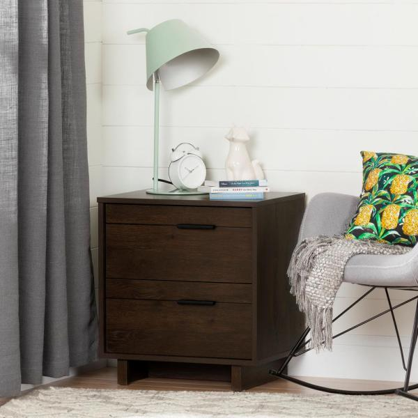 South Shore Fynn 2-Drawer Brown Oak Nightstand 10281