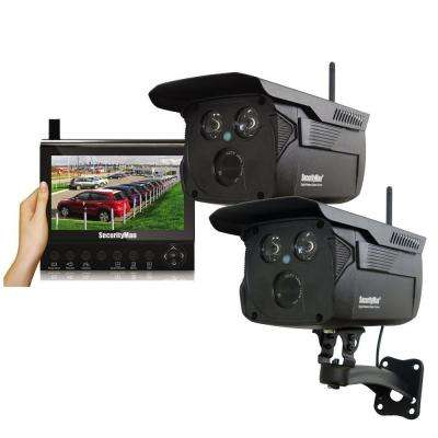 Wireless 4-Channel Surveillance System, 2 Wireless Outdoor Camera with 120 ft. Night Vision and 7 in. LCD/SD Recorder