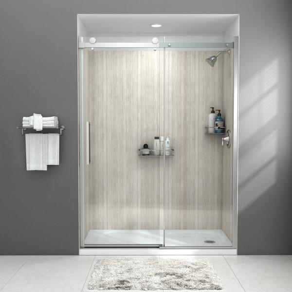 Passage 60 in. x 72 in. Frameless Sliding Shower Door in Clear Glass