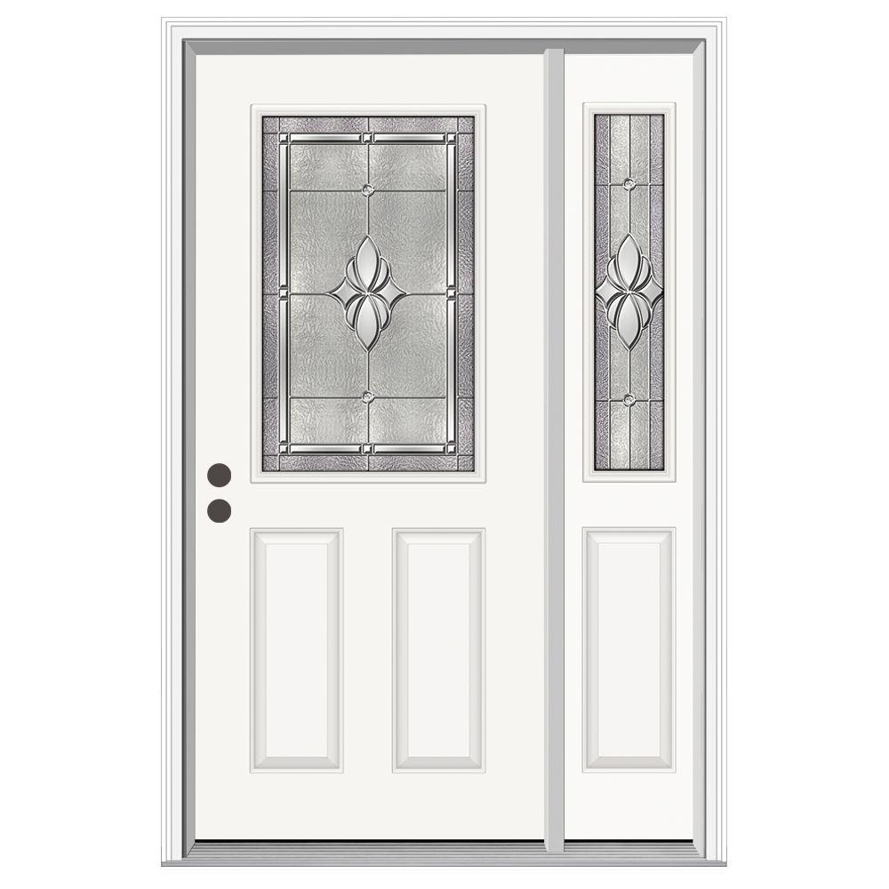 Jeld wen 50 in x 80 in 1 2 lite langford primed steel for Jeld wen front entry doors