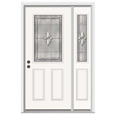 50 in. x 80 in. 1/2 Lite Langford Primed Steel Prehung Right-Hand Inswing Front Door with Right-Hand Sidelite