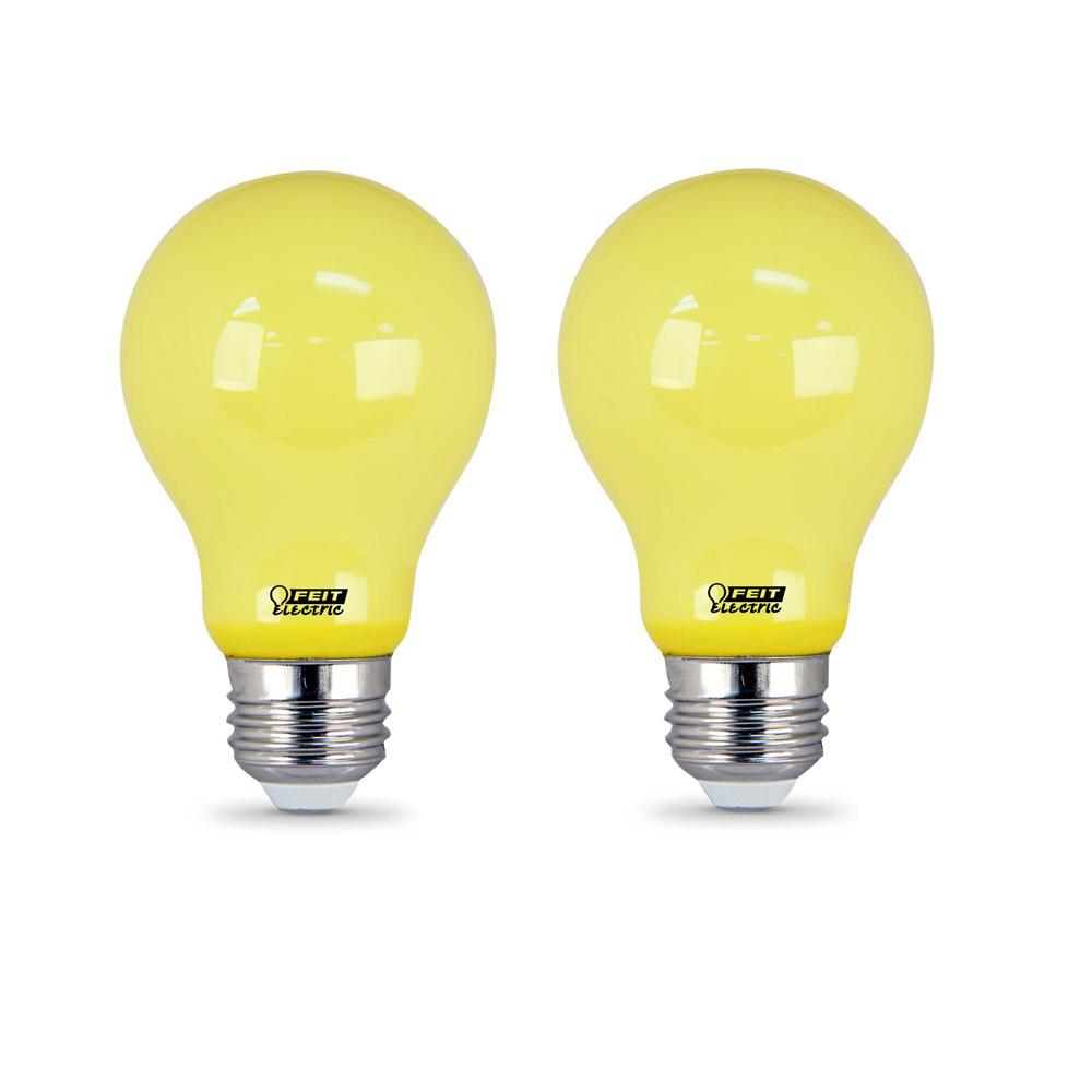 Feit Electric 5 Watt A19 60 Equivalent Medium E26 Base Non Dimmable Yellow Colored Led Bug Light Bulb 2 Pack The Home Depot