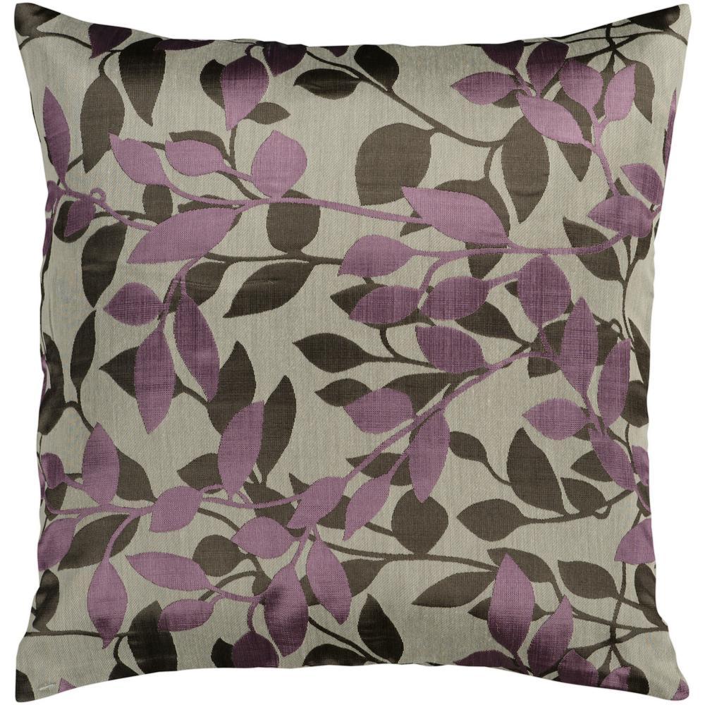 Encelia Purple Geometric Polyester 22 in. x 22 in. Throw Pillow