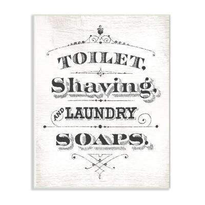 """13 in. x 19 in. """"Vintage Toilet Shaving Laundry and Soaps Typography Sign"""" by Daphne Polselli Wood Wall Art"""