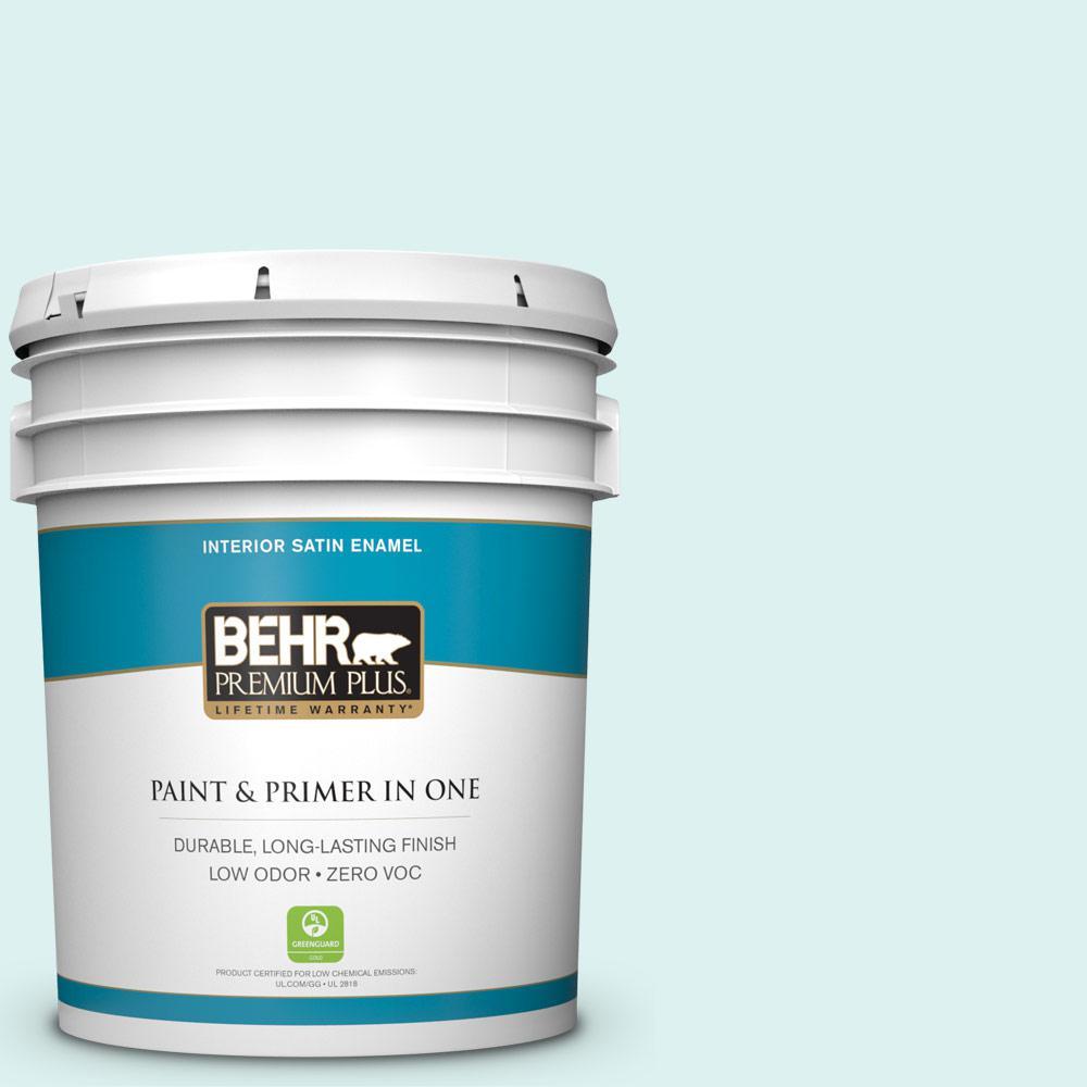 BEHR Premium Plus 5-gal. #500A-1 Glacier Bay Zero VOC Satin Enamel Interior Paint