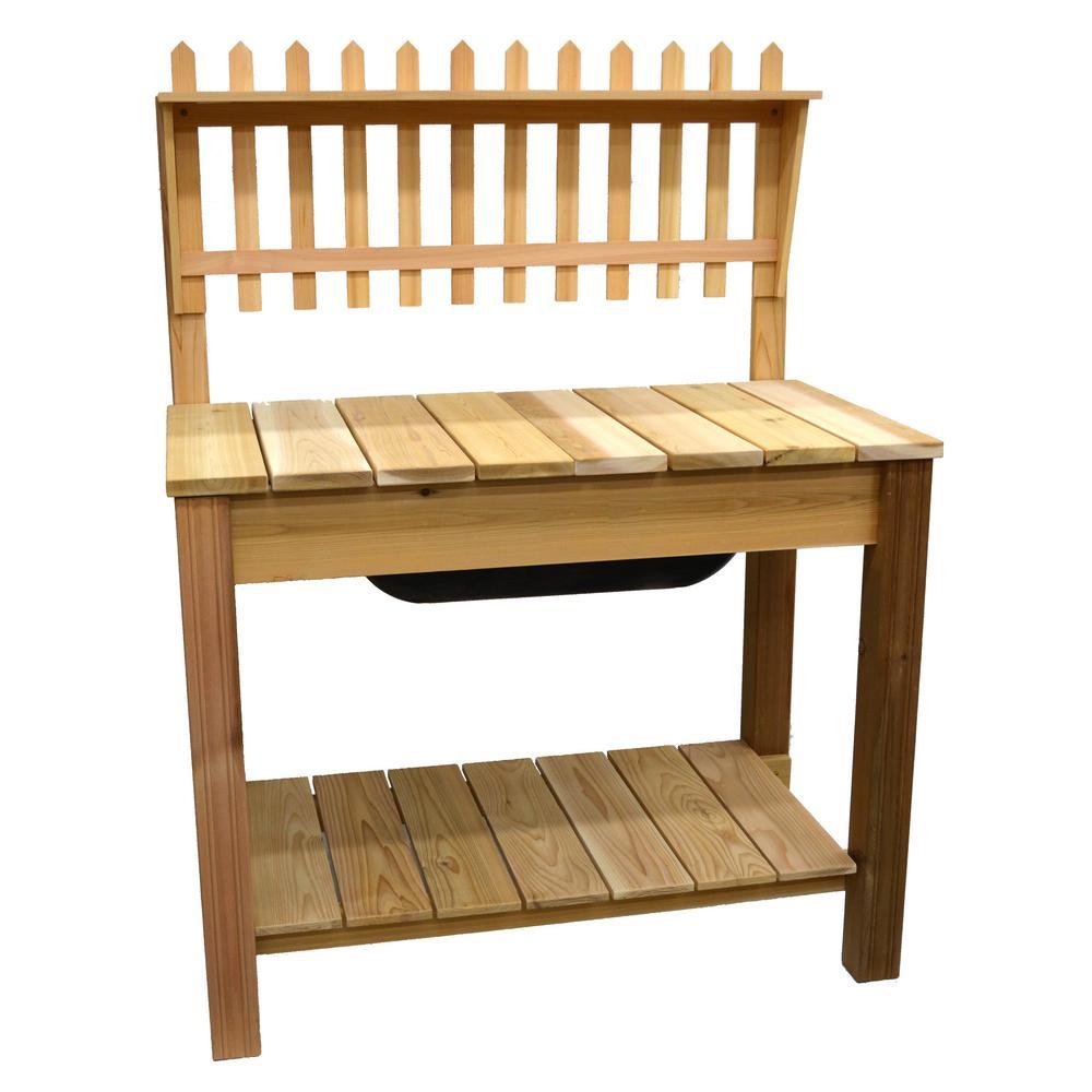 Great Natural Cedar Potting Bench With Cottage Shelf