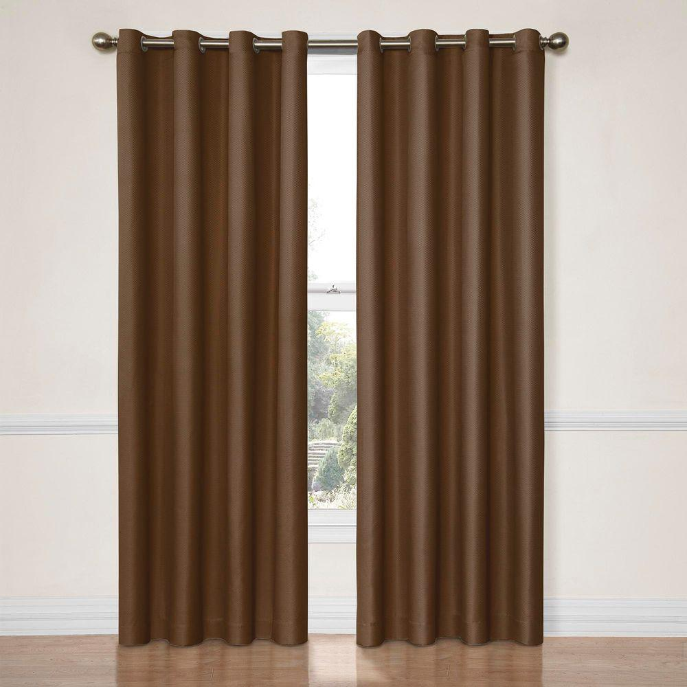 Eclipse Dane Blackout Window Curtain Panel in Chocolate - 52 in. W x 95 in. L