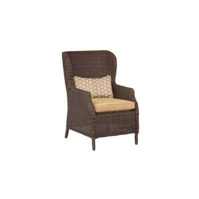 Vineyard Patio Cafe Chair in Toffee with Tessa Barley Lumbar Pillow (2-Pack) -- CUSTOM