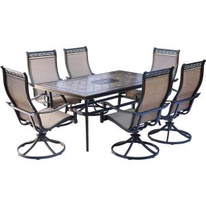Hanover Monaco 7-Piece Aluminum Outdoor Dining Set with Rectangular Tile-Top Table and Contoured Sling Swivel... by Hanover