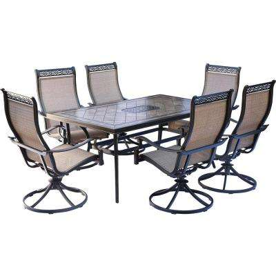 Monaco 7-Piece Aluminum Outdoor Dining Set with Rectangular Tile-Top Table and Contoured Sling Swivel Chairs