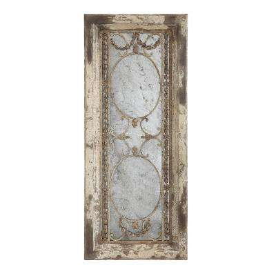 Pine Wood and Metal Decorative Mirror