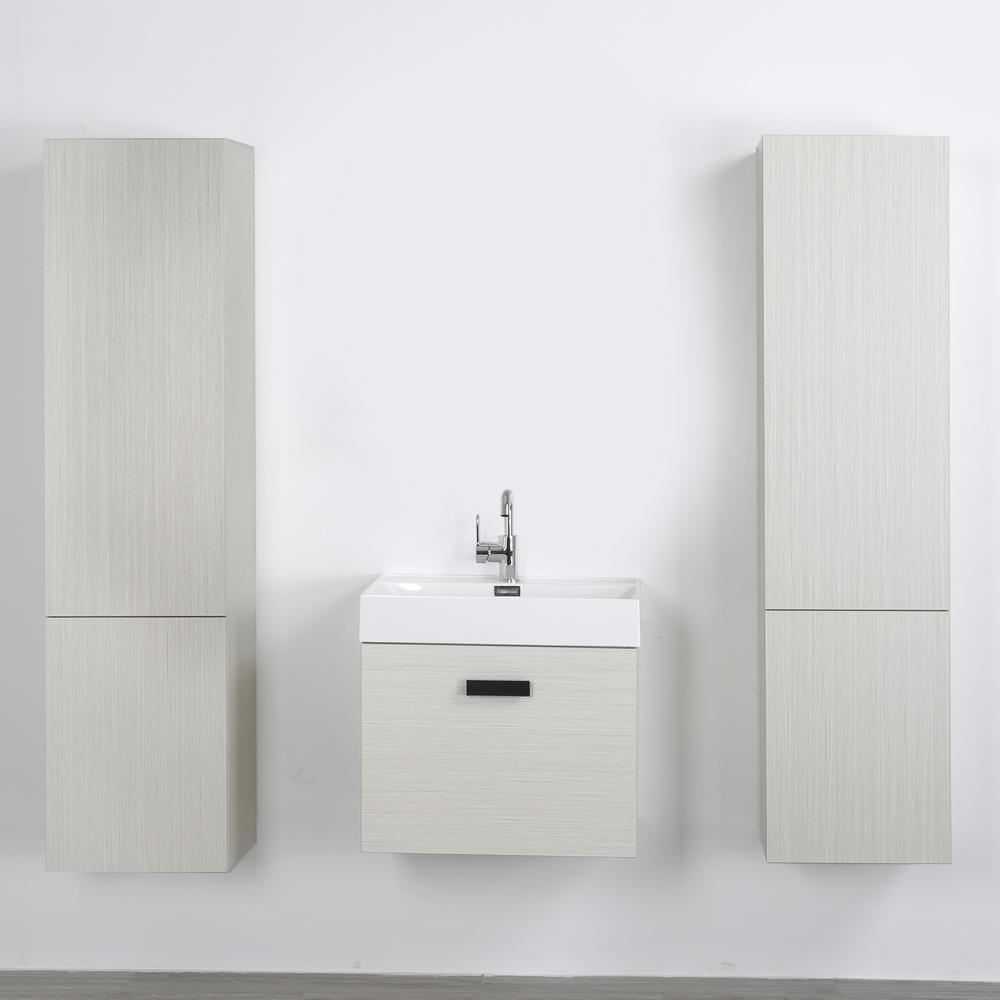 Streamline 23.6 in. W x 18.1 in. H Bath Vanity in Gray with Resin Vanity Top in White with White Basin