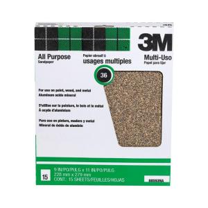 3M 9 inch x 11 inch 36 Grit Extra Coarse Aluminum Oxide Sandpaper ((15-Pack) (Case of 10)) by 3M