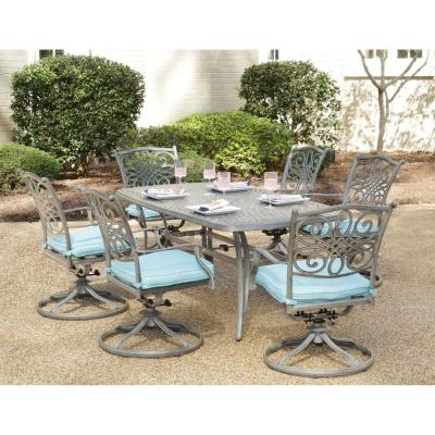 Traditions 7-Piece Aluminum Outdoor Dining Set with Blue Cushions 6 Swivel Rockers and Dining Table