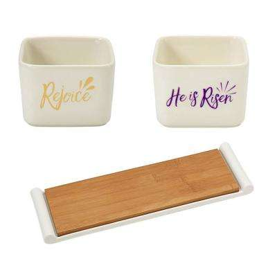 White Poreclain Serving Trays and Square Porcelain Rejoice and He is Risen Appetizer Bowls (Set of 2)