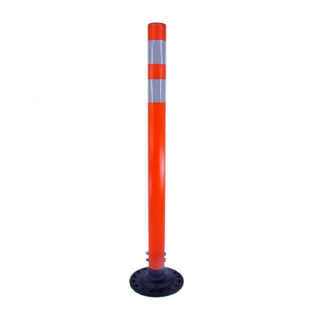 Three D Traffic Works 36 in. Orange Round Delineator Post and Base with High-Intensity White Band