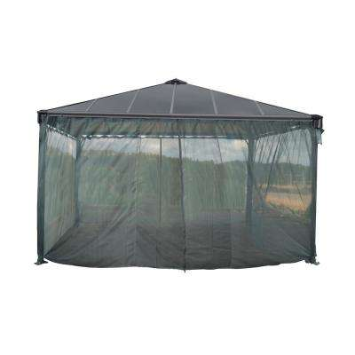 Palermo 4300 14 ft. x 14 ft. Garden Gazebo Netting Set Grey (4-Piece)