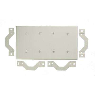 4-Gang No Device Blank Wallplate, Standard Size, Thermoset, Strap Mount in White
