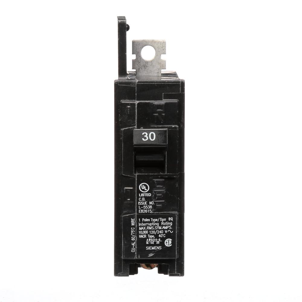 Siemens 30 Amp Single Pole Type Qp Circuit Breaker Q130 The Home Depot Qo 15amp 1pole Combination Arc Fault At Lowescom 1 Bq 10 Ka Lug In Out