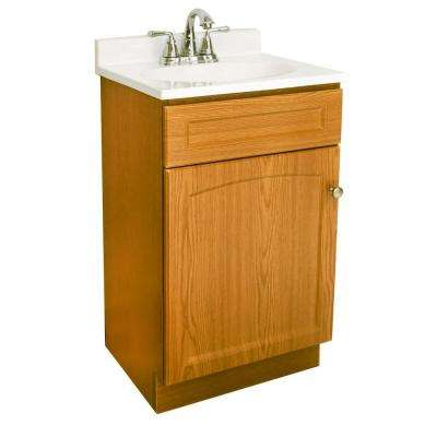 19 in. Vanity in Oak with Cultured Marble Vanity Top in White