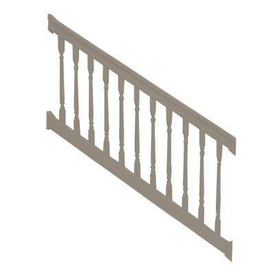 Delray 3 ft. H x 8 ft. W Vinyl Khaki Stair Railing Kit with Colonial Spindles