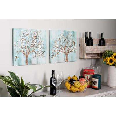 "16 in. x 16 in. ""Deciduous Tree with Birds"" Hand Painted Framed Canvas Wall Art (Set of 2)"
