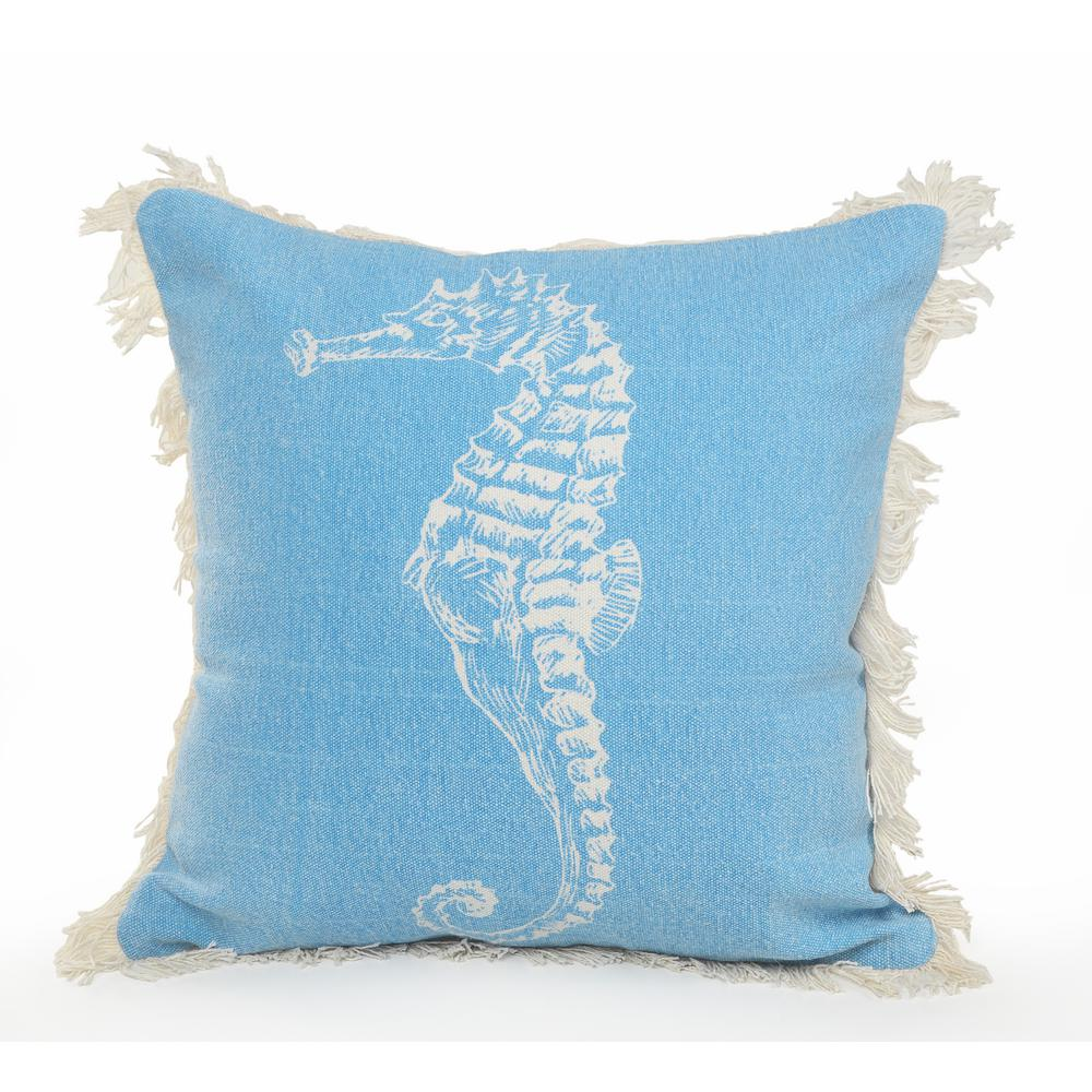 18 in. x 18 in. Blue/Cream Coastal Seahorse Fringe Standard Throw Pillow